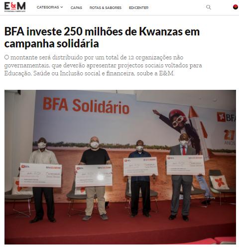 BFA Investe 250 Milhões de Kwanzas em Campanha Solidária - Economia e Mercado